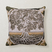 Tree of Life Circle of Life in Brown Throw Pillow