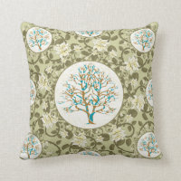 Tree of Life Floral Pattern Throw Pillow