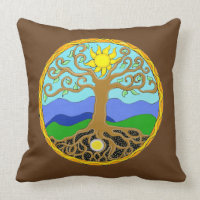 Tree of Life Mandala Throw Pillow