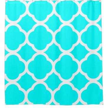 Trendy Aqua Blue & White Quatrefoil Pattern Shower Curtain