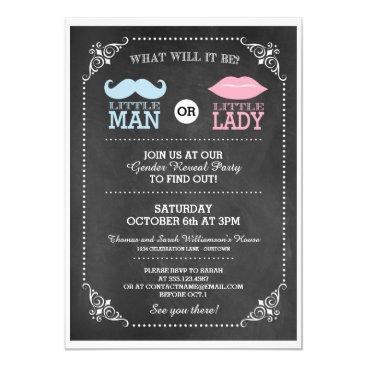 Trendy Chalkboard Gender Reveal Party Invitation