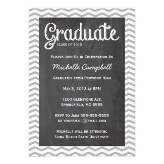 Trendy Chevron & Chalkboard Graduation Invitation