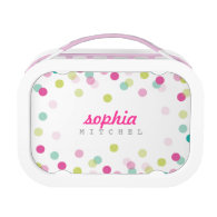TRENDY cute polka dot confetti pattern pink green Yubo Lunchbox