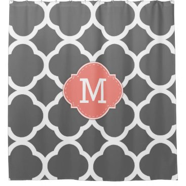 Trendy Dark Gray & White Quatrefoil with Monogram Shower Curtain