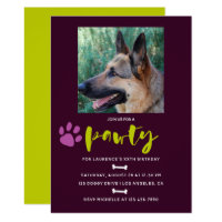 Trendy Dog or Puppy Birthday Party photo invite