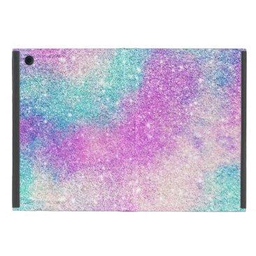 Trendy girly pastel glitter pink turquoise nebula case for iPad mini
