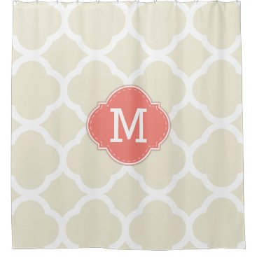 Trendy Ivory and White Quatrefoil with Monogram Shower Curtain