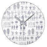 Trendy leaf pattern large clock