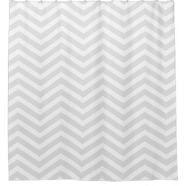 Trendy Light Grey and White Chevron Pattern Shower Curtain