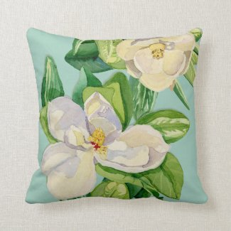 Trendy Magnolia Floral art Decorative Throw Pillow