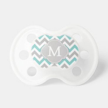 Trendy Monogram Blue and Gray Chevron Pacifier