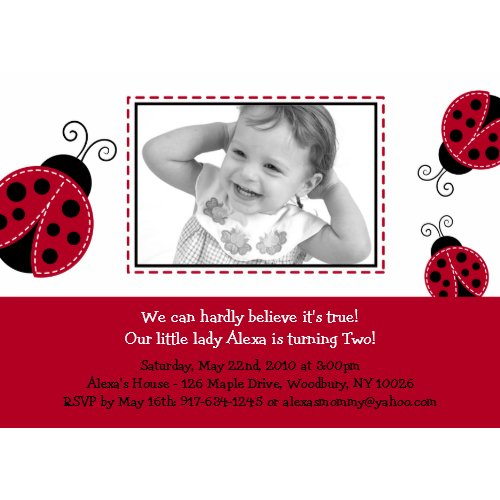 Trendy Red Ladybug Photo Birthday Invitations invitation