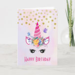 ❤️ Trendy Unicorn with Flowers Butterflies & Confetti Card