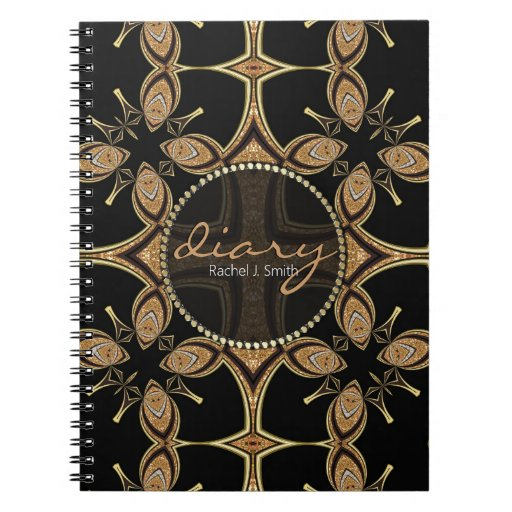 Tribal Batik Butterfly Black Gold Diary Notebook