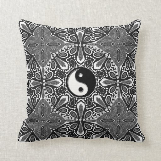 Tribal Black White Yin Yang Geometric Cushion