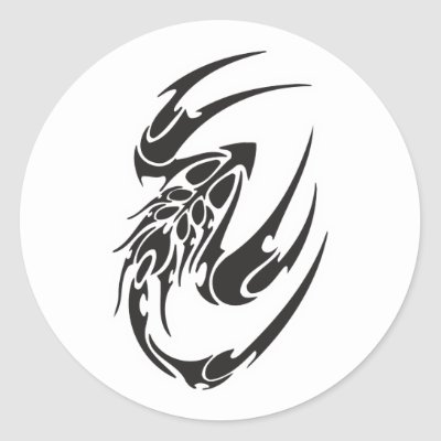 Tribal Scorpion Tattoo Design Round Stickers by doonidesigns