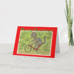 Triceratops Tricycle Christmas Card