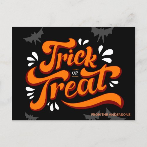 Trick or Treat Halloween Personalized Postcard