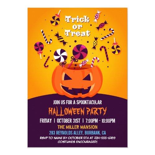 Trick or Treat Jack-O-lantern Halloween Party Invitation