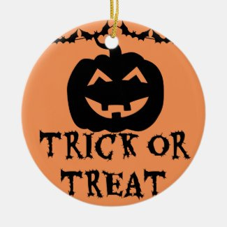 Trick or Treat Pumpkin Double-Sided Ceramic Round Christmas Ornament