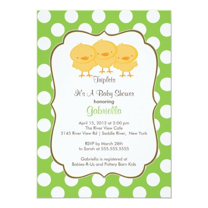 Triplets Baby Shower Invitation