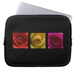 Triptych Roses orange yellow pink electronicsbag