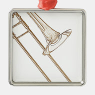 Trombone Brown Ink Drawing Necklace or Ornament