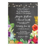 Tropical Aloha Wedding Floral Chalk Lights Invite