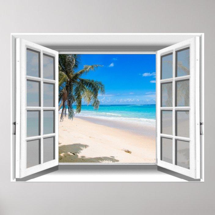 tropical beach fake window view 3d poster zazzle com