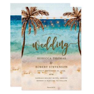 Tropical Beach Scene Modern Wedding Invitation