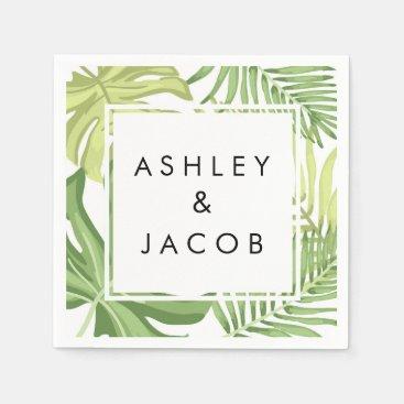 Tropical beach wedding paper napkins Palm Hawaii