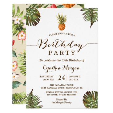 Tropical Birthday Party -  Summer Pineapple Leaves Card