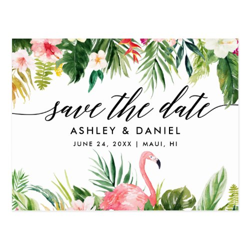 Tropical Floral Calligraphy Save The Date Postcard