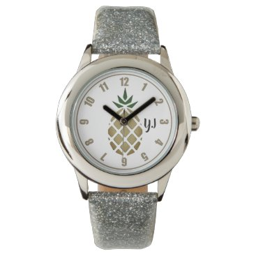 Tropical Hawaiian Pineapple Stencil (Personalized) Wrist Watch