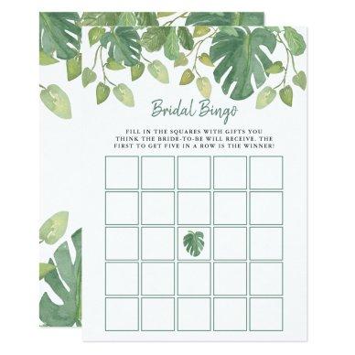 Tropical Leaves | Bridal Shower Bingo Game Invitation