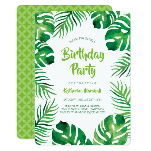 Tropical Monstera Leaves Birthday Party Invitation