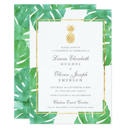 Tropical Pineapple Gold Wedding Invitations