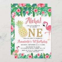 flamingo 1st birthday invitations zazzle
