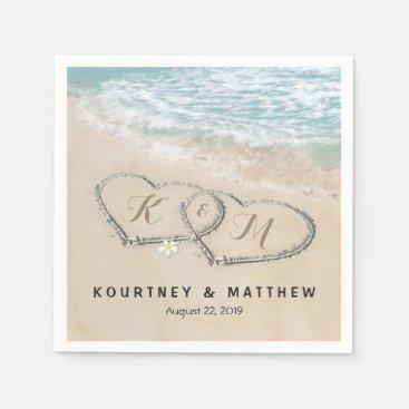 Tropical Vintage Beach Heart Shore Wedding Napkin