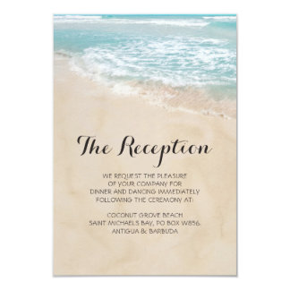 Tropical Vine Beach Heart Wedding Reception Card