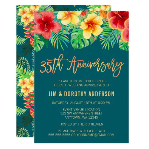 Tropical Watercolor Flower 35th Anniversary Invitation