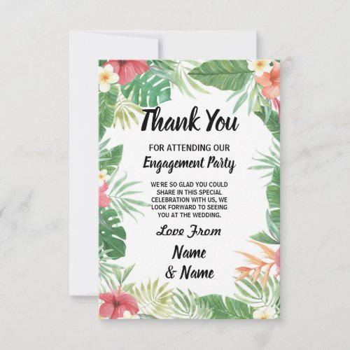 Tropical Watercolor Flowers Thank You Card Wedding