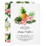 Tropical Watercolor Pineapple Sweet Sixteen Party Invitation