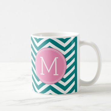True Teal Chevron Pattern with monogram Coffee Mug