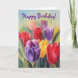 Bright & Fun Colorful Tulip Happy Birthday Card