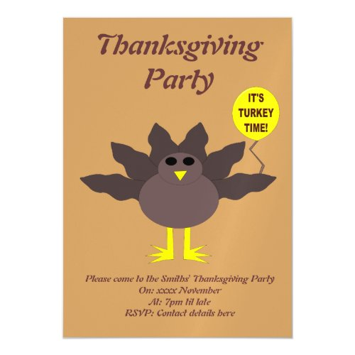 Turkey Time Thanksgiving Custom Party Invite