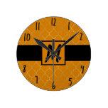 Turmeric Yellow & Gold Quatrefoil Monogrammed Round Clock