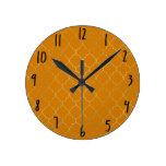 Turmeric Yellow & Gold Quatrefoil Pattern Round Clock