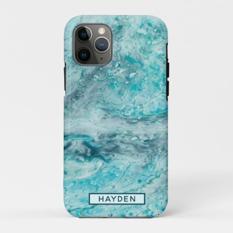 Turquoise Abstract Paint Pour Art Monogram iPhone 11 Pro Case