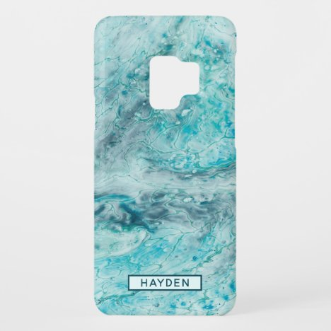 Turquoise Abstract Paint Pour Art Monogram Case-Mate Samsung Galaxy S9 Case